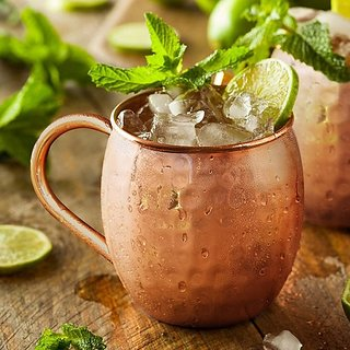 Tariq Lifestyle Solid Copper 16 Fluid Ounce Hammered Moscow Mule Mug with Copper Pipe Ear Shape Handle