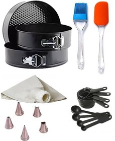 Mould Combo of Spring Form, Spatulla, Brush, Measuring Cup, Icing Bag  Nozzle