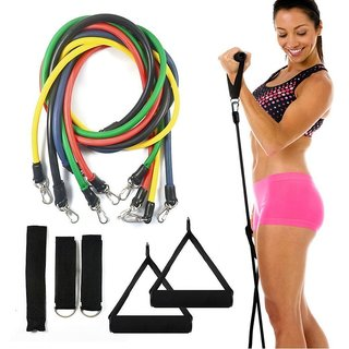 5 in 1 Combo -Gym Exercise Power Resistance Bands Set - Home Gym Extreme - with Travel Bag and Exercise Accessories