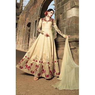 575bab35551 Buy Poly Silk Beige Embroidered Semi Stitched Long Anarkali Suit Online -  Get 49% Off