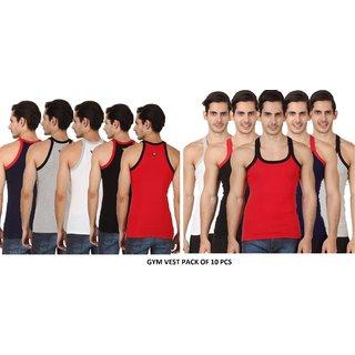 Men's Multicolor Gym Vest Cotton Wear ( 10 Pcs Of Pack) Mens ,Cotton Gym Vest