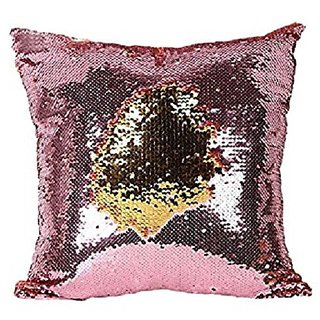 Kartik  Stylish Sequin Mermaid Throw Pillow Cover with Magical Color Changing Reversible 16X16 Set of 1 GOLDEN  PINK
