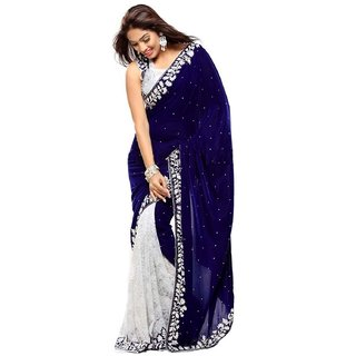 4Tigers Half Velvet And Half Russell Saree With Blouse Piece(chandani)