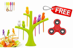 Combo of 1 Piece of Fruit Fork in 6 Colorful Bird And 1Pc toy for all age
