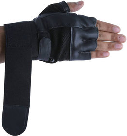 Gym Gloves with Wrist Support for Men Best in Fitness Exercise (Leather, Black, Free Size)