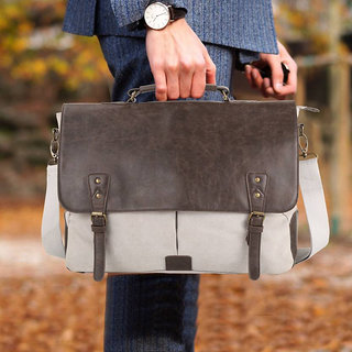 Home Story 15.6 inch Expandable Laptop Messenger Bag(GREY)
