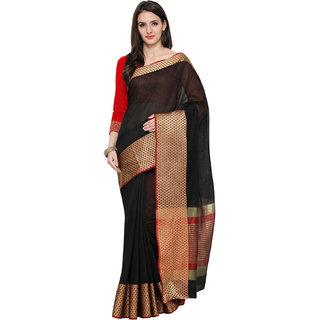 Ajira New Black Colour Self Design Solid Poly Cotton Banarasi Saree GAURI BINDI BORDER BLACK