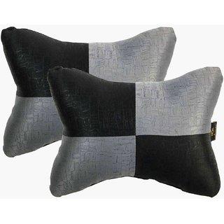 Lushomes Dark Grey & Black Embossed Comfortable Car Neck Pillow (Pack of 2 pcs)