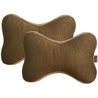 Lushomes Beige Premium Memory foam Car Neck Bone Pillow with Elastic (Pack of 2 30 x 16 x 5 cms)