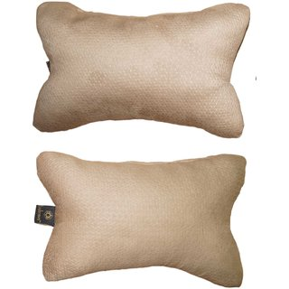 Lushomes Beige Embossed Comfortable Car Neck Pillow (Pack of 2 pcs)