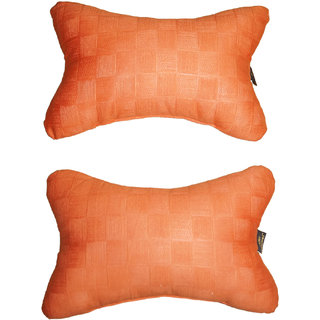 Lushomes Orange Embossed Comfortable Car Neck Pillow (Pack of 2 pcs)