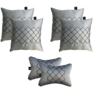 Lushomes Premium Grey Car Set (4 pcs Cushions & 2 pcs Neck rest Pillow) with Artistic Stitch