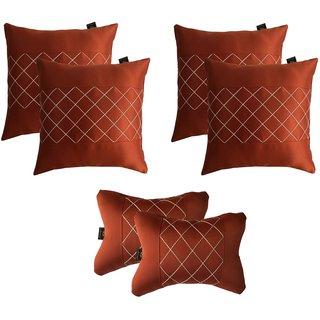 Lushomes Premium Rust Car Set (4 pcs Cushions & 2 pcs Neck rest Pillow) with Artistic Stitch
