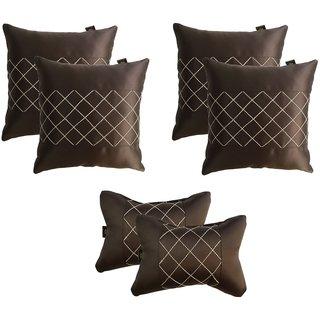 Lushomes Premium Brown Car Set (4 pcs Cushions & 2 pcs Neck rest Pillow) with Artistic Stitch