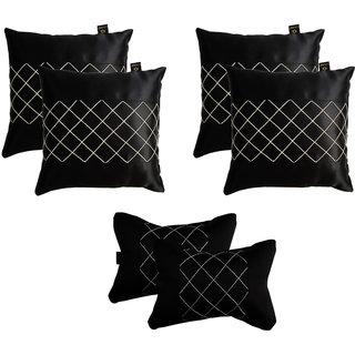 Lushomes Premium Black Car Set (4 pcs Cushions & 2 pcs Neck rest Pillow) with Artistic Stitch