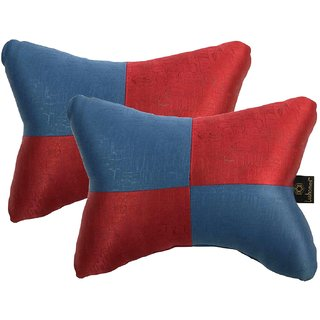Lushomes Red & Blue Embossed Comfortable Car Neck Pillow (Pack of 2 pcs)
