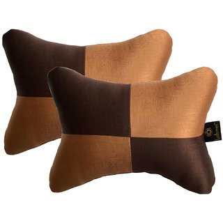 Lushomes Light Brown & Dark Brown Embossed Comfortable Car Neck Pillow (Pack of 2 pcs)