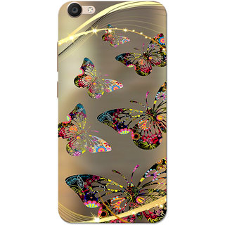 cheap for discount b09e1 8a057 Buy Vivo Y55 Case, Butterflies Golden Brown Slim Fit Hard Case Cover ...