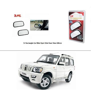 AutoStark 3R Wide Rectangle Car Blind Spot Side Rear View Mirror (Set of 2) For  Mahindra Scorpio