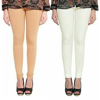 Alishah Cotton Lycra Premium Leggings For Women And Girl Bright Skin Off White