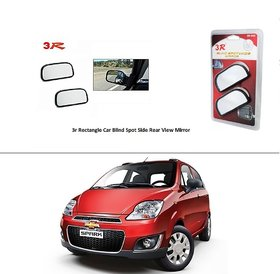 AutoStark 3R Wide Rectangle Car Blind Spot Side Rear View Mirror (Set of 2) For  Chevrolet Spark