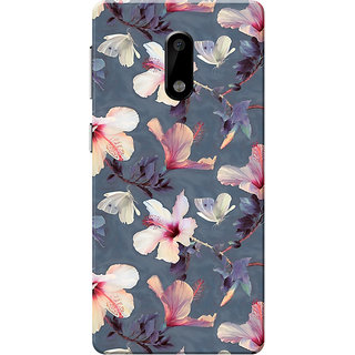 Nokia 6 Case, Flower Dark Grey Slim Fit Hard Case Cover/Back Cover for Nokia 6