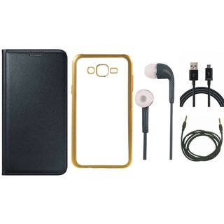 Premium Quality Leather Finish Flip Cover for Vivo V3 with Free Silicon Back Cover, Earphones, USB Cable and AUX Cable