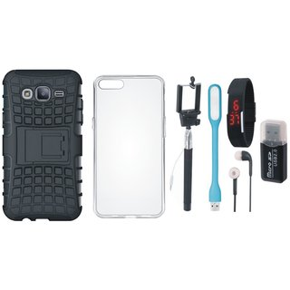 Samsung J5 2016 Model SM-J510 Shockproof Cover with Memory Card Reader, Silicon Back Cover, Selfie Stick, Digtal Watch, Earphones and USB LED Light