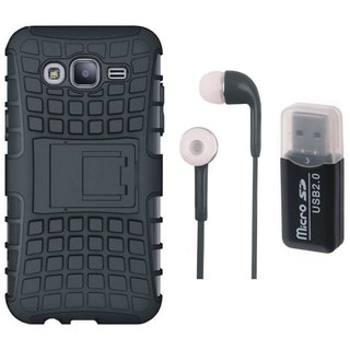 Samsung J7 Max Shockproof Tough Armour Defender Case with Memory Card Reader, Earphones