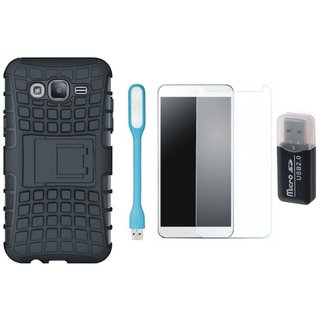 Vivo V3 Shockproof Kick Stand Defender Back Cover with Memory Card Reader, Tempered Glas and USB LED Light