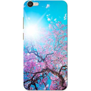 Vivo V5 Case, Vivo Y67 Case, Vivo V5s Case, Cherry Blossom Tree Pink Blue Slim Fit Hard Case Cover/Back Cover for Vivo V5/V5s/V5 Lite/Vivo Y67