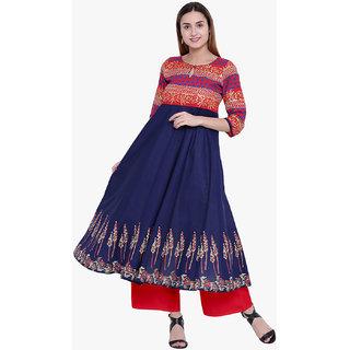 Varkha Fashion Women's Blue Printed Long Anarkali Stitched Kurti