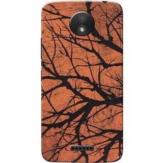 Moto C Plus Case, Orange Black Texture Slim Fit Hard Case Cover/Back Cover for Motorola Moto C Plus