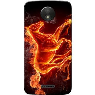 Moto C Plus Case, Burning Horse Slim Fit Hard Case Cover/Back Cover for Motorola Moto C Plus