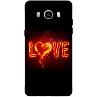 Galaxy J7 2016 Case, Galaxy On8 Case, Fire Love Orange Black Slim Fit Hard Case Cover/Back Cover for Samsung Galaxy On8/ J7 2016