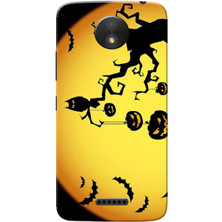 Moto C Plus Case, Halloween Orange Black Slim Fit Hard Case Cover/Back Cover for Motorola Moto C Plus