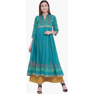 Varkha Fashion Women's Green Block Print Long Anarkali Stitched Kurti
