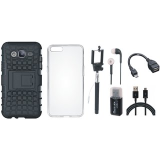 Samsung J7 Max Shockproof Tough Defender Cover with Memory Card Reader, Silicon Back Cover, Selfie Stick, Earphones, OTG Cable and USB Cable