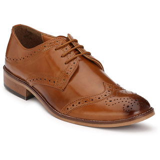 Hirels Tan Derby Brogue Cap Toe Synthetic Leather Formal Shoes