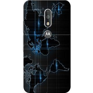 Moto G4 Plus, Moto G4 Case, World Map Blue Black Slim Fit Hard Case Cover/Back Cover for Moto G4 Plus/Motorola Moto G4/Moto G Plus 4th Gen/Moto G 4th Gen