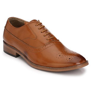 Hirels Tan Oxford Brogue Cap Toe Synthetic Leather Formal Shoes