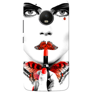 Moto G5 Plus Case, Smoky Eye Butterfly Girl White Slim Fit Hard Case Cover/Back Cover for Motorola Moto G5 Plus