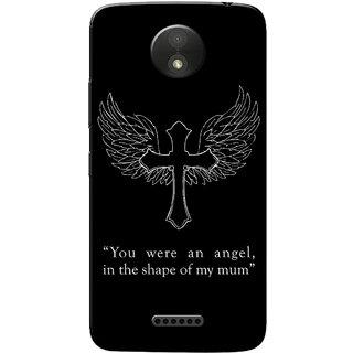 Moto C Plus Case, Angel Mum Black Slim Fit Hard Case Cover/Back Cover for Motorola Moto C Plus