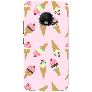 Moto G5 Plus Case, Icecream Pattern Baby Pink Slim Fit Hard Case Cover/Back Cover for Motorola Moto G5 Plus