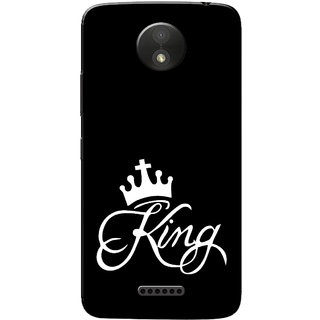Moto C Plus Case, King Black White Slim Fit Hard Case Cover/Back Cover for Motorola Moto C Plus