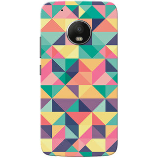 Moto G5 Plus Case, Green Pink Multi Triangle Slim Fit Hard Case Cover/Back Cover for Motorola Moto G5 Plus