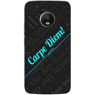 Moto G5 Plus Case, Carpe Diem Black Neon Blue Slim Fit Hard Case Cover/Back Cover for Motorola Moto G5 Plus