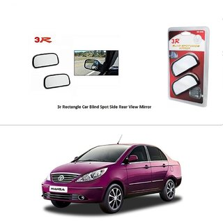 AutoStark 3R Wide Rectangle Car Blind Spot Side Rear View Mirror (Set of 2) For Tata Manza