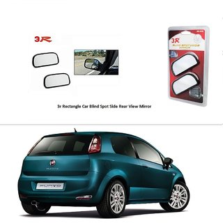 AutoStark 3R Wide Rectangle Car Blind Spot Side Rear View Mirror (Set of 2) For Fiat New Linea 2014
