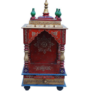ATC Multicolor Wooden Hand Painted Home Temple With 1 Drawer